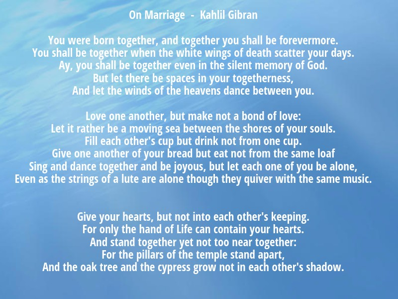 Image result for on marriage kahlil gibran