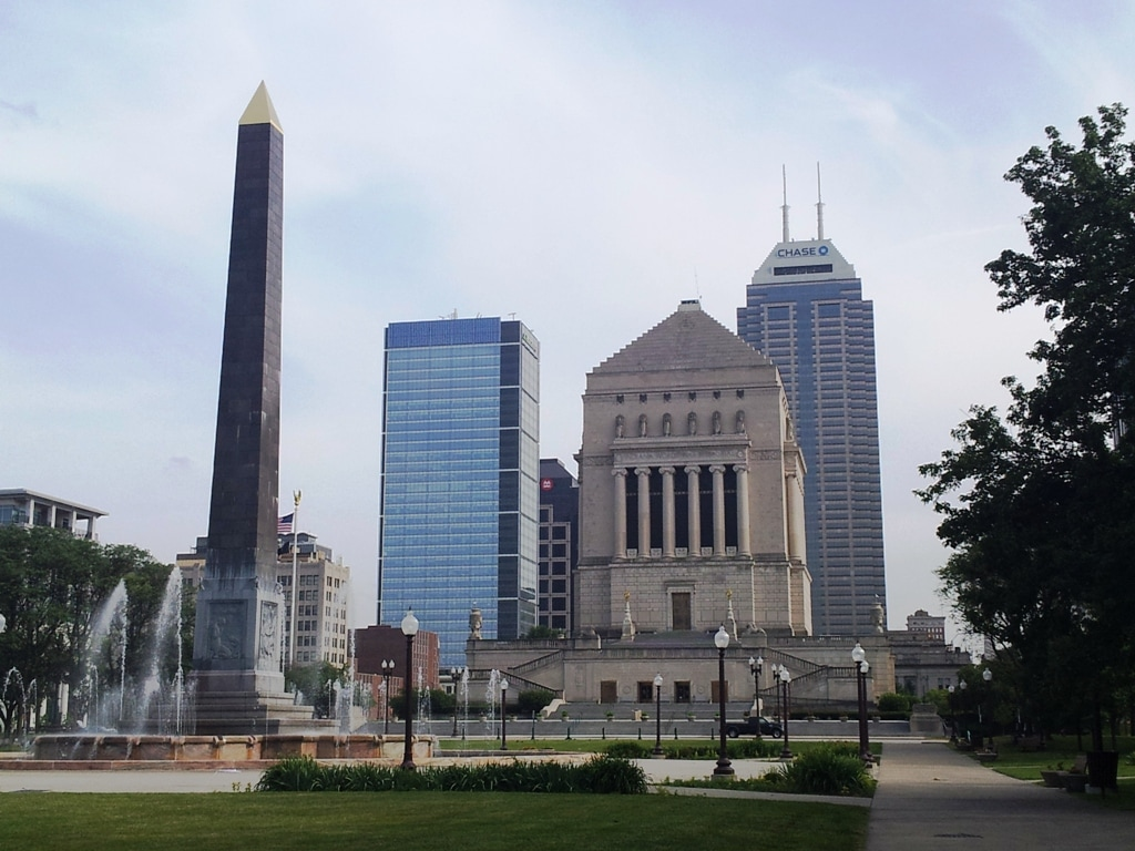 The Indiana War Memorial and plaza and fountain area north of the Memorial.  Elope in Indy!