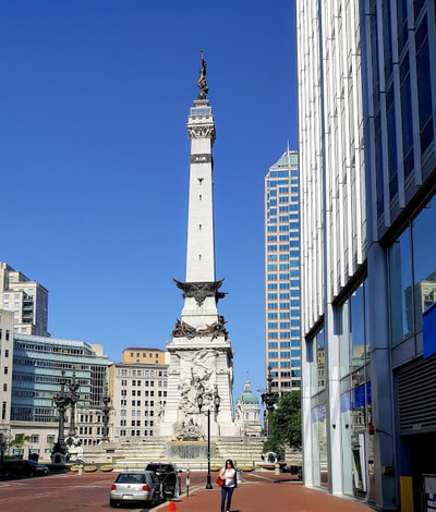 View of Soldiers and Sailors Monument from East Market Street